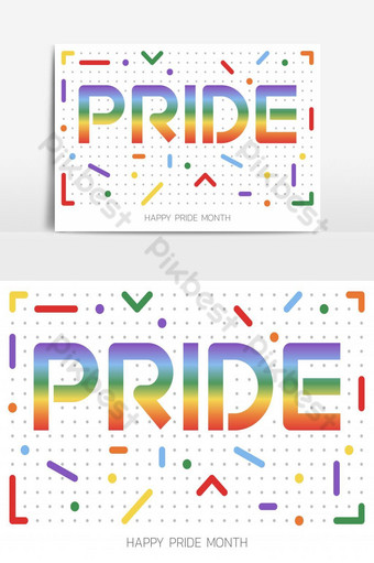 LGBT Pride Month illustration with typography text in rainbow color. Poster, card, banner PNG Images Template PSD