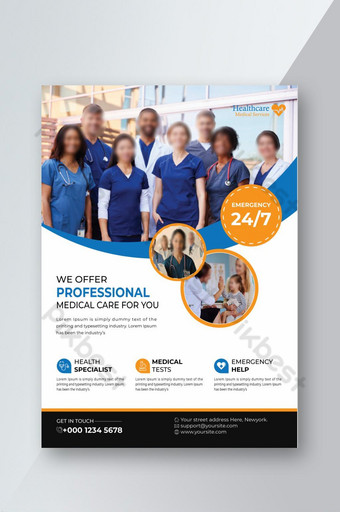 Creative Medical Health Care Service Flyer Design Template EPS