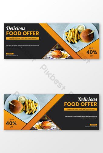 Restaurant nourriture vente discount médias sociaux post page de couverture facebook chronologie bannière publicitaire web Modèle EPS