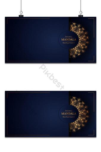خلفية إسلامية ماندالا الزينة الفاخرة مع أنماط الأرابيسك الذهبية لحفل الزفاف في خلفيات قالب EPS