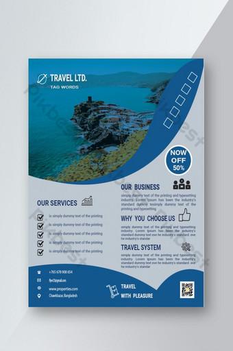Modèle de Flyer de voyage bleu Modèle PSD