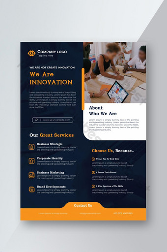 Navy Blue Corporate Business Services Flyer Design Template EPS