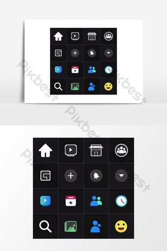 ilustraciones de vectores de iconos de redes sociales Elementos graficos Modelo EPS