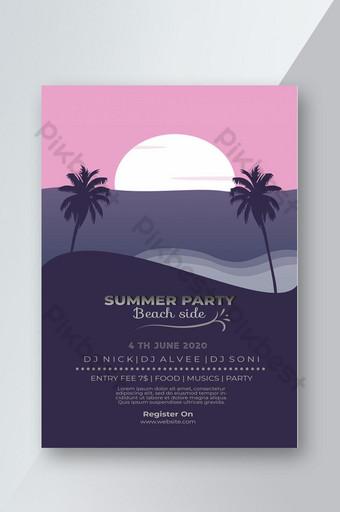 Flyer fête d'été côté plage Modèle PSD