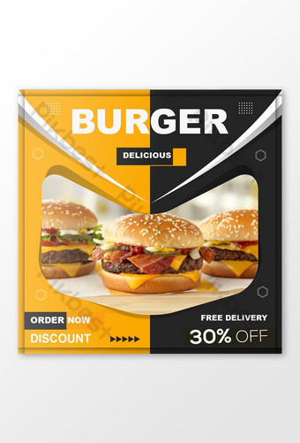 plantilla de publicación de redes sociales de hamburguesa Modelo EPS