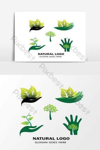 الإبداعية الطبيعية الورقة الخضراء رمز ناقلات الشعار الطبيعي صور PNG قالب AI