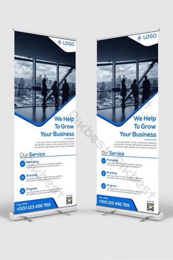 Plantilla de diseño de banner de soporte de señalización corporativa azul moderno elegante Modelo AI