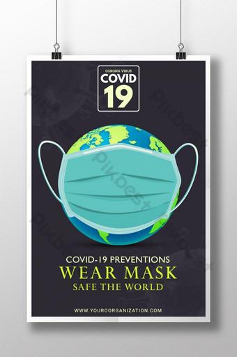 sinal de atenção corona, por favor, use máscara, evite o vírus covid 19 Modelo AI