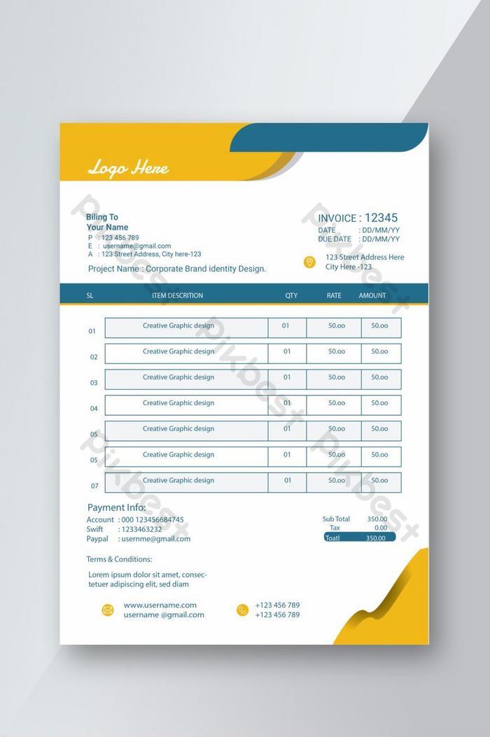 creative invoice template design.minimalist invoice template design for your business.