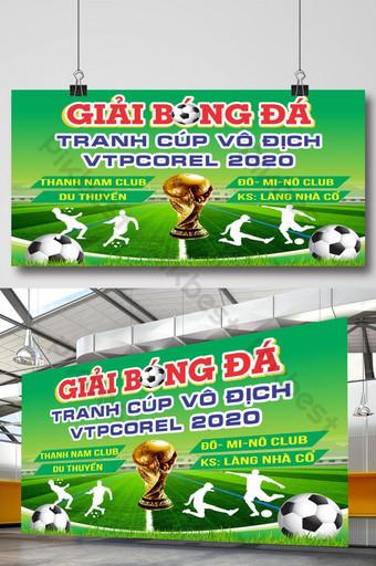 Affiche de tournoi de football avec fond vert trophée Modèle CDR