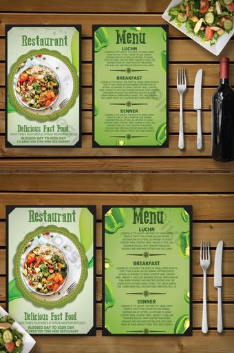 menú de restaurante degradado verde Modelo PSD