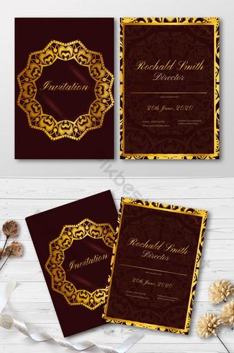 Modèle de conception de carte d'invitation de luxe avec fond floral Modèle AI