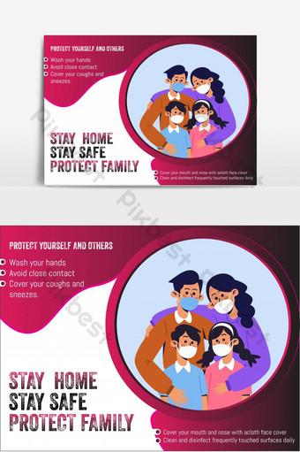 covid 19 romance corona vírus prevenção info gráfico restrito mídia social post banner Elementos gráficos Modelo AI