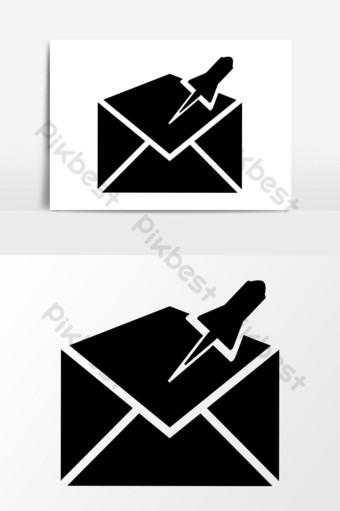 gráficos vectoriales de icono de correo anclado Elementos graficos Modelo EPS