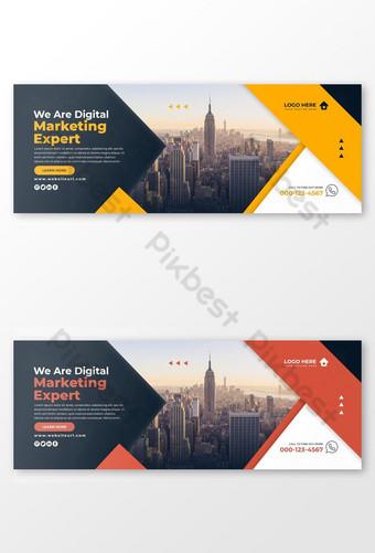 Saklaw ng digital na negosyo sa marketing sa facebook ang konsepto ng disenyo ng banner sa social media Template PSD