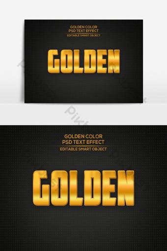 Effet de texte 3D doré PSD modifiable Effet de texte doré Style de police modifiable Éléments graphiques Modèle PSD