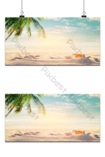 Seaside summer beach with starfish, shells, coral on sandbar and blur sea background. Backgrounds Template PSD