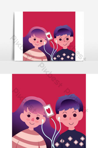 amor pareja escuchando música a través de auriculares Elementos graficos Modelo EPS