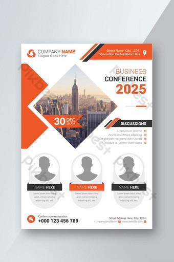 Modèle de conception de flyer de conférence d'entreprise orange Modèle AI