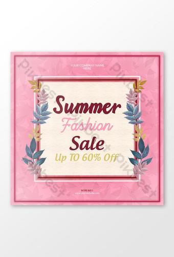 Summer sell post banner design for social media Template PSD