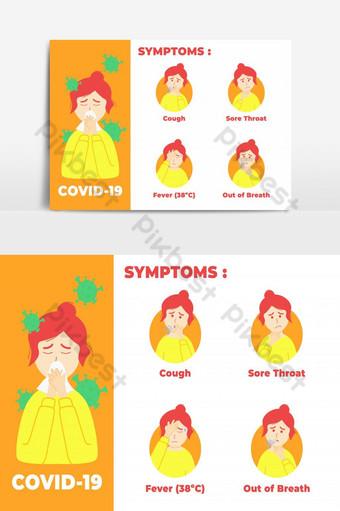 infografía síntomas covid 19 con ilustración de personaje mujeres corona enferma Elementos graficos Modelo EPS