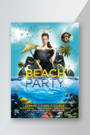 Flyer d'événement de fête de plage de style moderne Modèle PSD