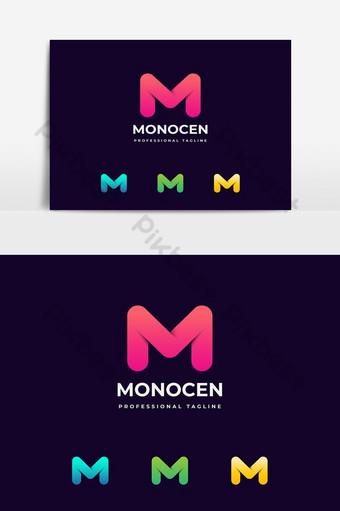 desain logo huruf m abstrak gradien berwarna-warni Elemen Grafis Templat EPS