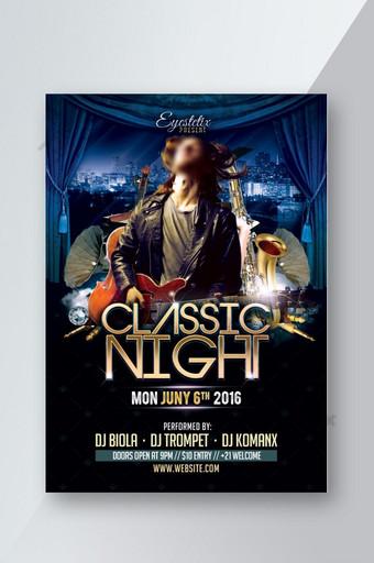 Modèle de Flyer d'événement de musique de nuit classique Modèle PSD