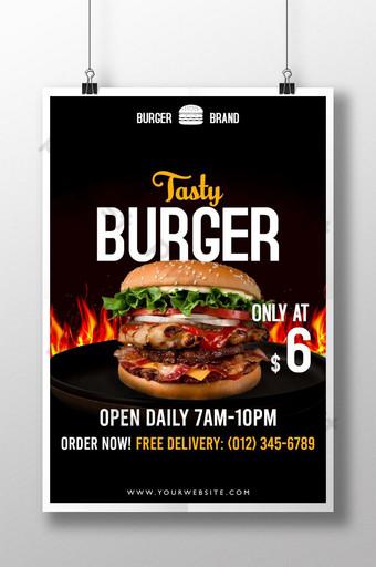 cartel moderno de hamburguesa con archivo psd de fuego Modelo PSD