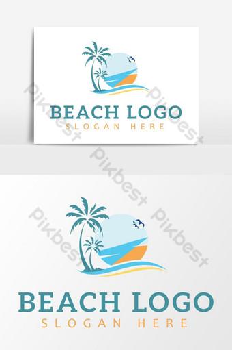 logo creativo de playa de verano Elementos graficos Modelo AI