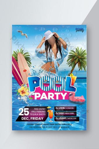 Flyer Summer Pool Party Modèle PSD