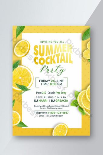 Flyer PSD pour le cocktail d'été Modèle PSD