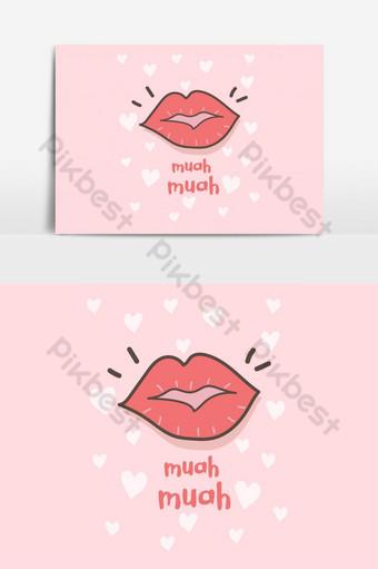 Carte de voeux avec élément graphique de vecteur de rouge à lèvres bisous Éléments graphiques Modèle EPS