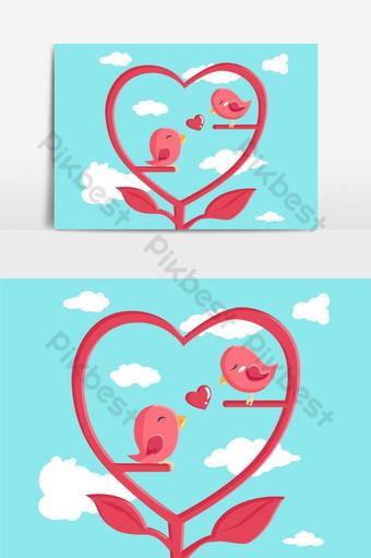 pareja pájaro enamorado elemento gráfico vectorial Elementos graficos Modelo EPS