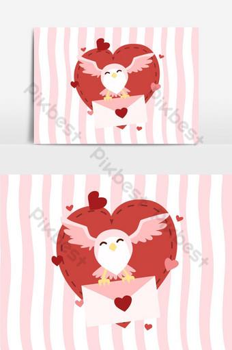 búho volando con carta de amor elemento gráfico vectorial Elementos graficos Modelo EPS
