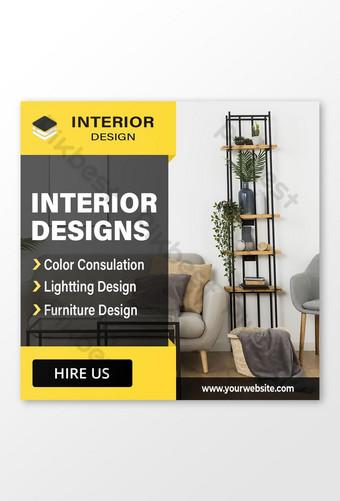 facebook instagram redes sociales minimalistas muebles de interior web banner anuncios diseño de publicaciones Modelo PSD