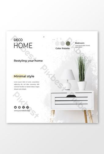 facebook instagram redes sociales minimalistas muebles de interior anuncios de banner diseño de publicaciones Modelo PSD