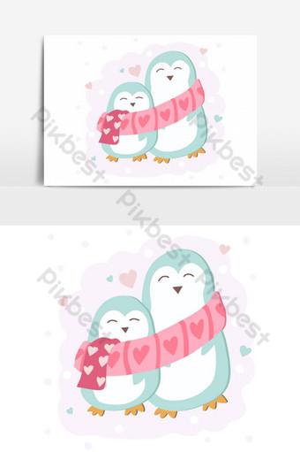 linda pareja de pingüinos abrazando elemento gráfico vectorial Elementos graficos Modelo EPS