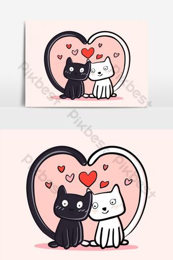 pareja gatos colores blanco y negro vector elemento gráfico Elementos graficos Modelo EPS