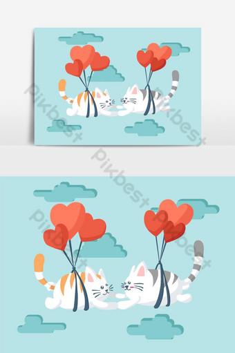pareja de gatos volando con un elemento gráfico de vector de paracaídas Elementos graficos Modelo EPS