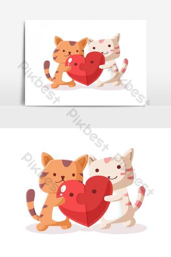 Pareja gato con elemento gráfico de vector de corazón de rompecabezas Elementos graficos Modelo EPS