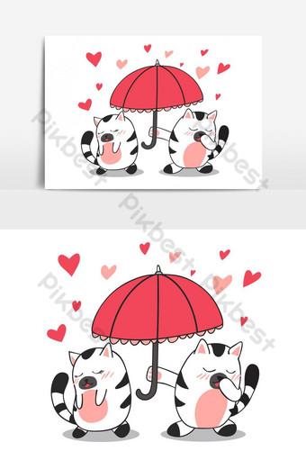 lindo gato es paraguas para el otro gato con elemento gráfico de vector de amor Elementos graficos Modelo EPS