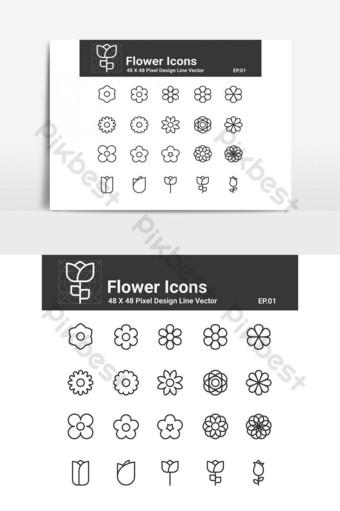 iconos de flores pixel perfect ui icon Elementos graficos Modelo PSD