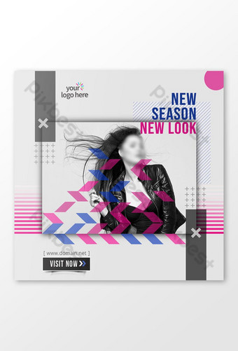 New Season New Look social Media post banner Template PSD