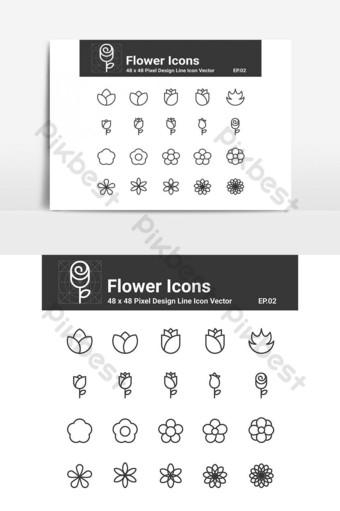 flor iconos línea vector ui icono vector elemento gráfico Elementos graficos Modelo EPS