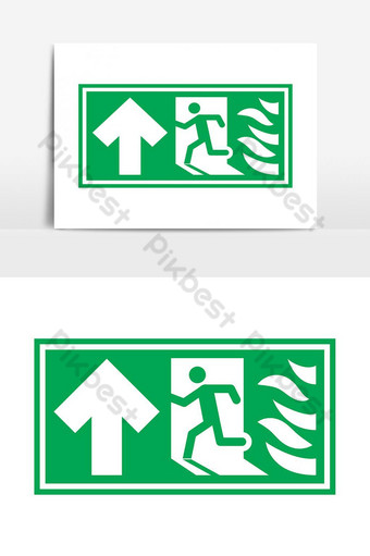 Emergency Fire Exit Sign Warning Sign Exit Door vector graphic element PNG Images Template PSD