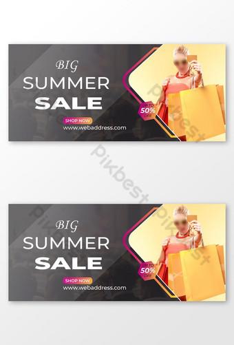 template sampul facebook penjualan musim panas yang besar Templat EPS