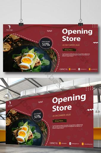 makanan dan restoran media sosial dan desain templat spanduk persegi Templat PSD