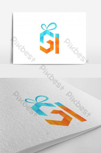 huruf s huruf g huruf i dan ikon hadiah desain logo warna-warni abstrak Templat EPS