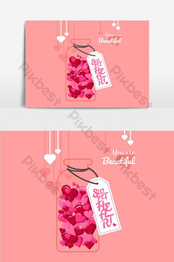botella de amor con corazones dentro de elemento gráfico vectorial Elementos graficos Modelo EPS